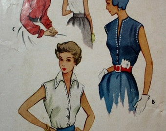 McCall 8053 / 1950s Button Front Blouse Pattern /Vintage Sewing Pattern/ Size 14 Bust 32
