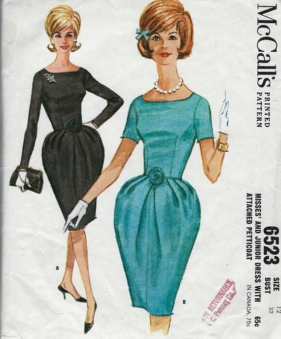 1960s  Misses Bubble Hour Glass Dress McCall's 6523 Vintage Sewing Pattern Bust 32