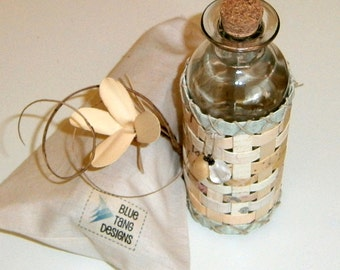 Apothecary Bottle Wrapped with Paper Sleeve, Recycled, Upcycled Paper in Neutral Natural Hues, Hand Woven