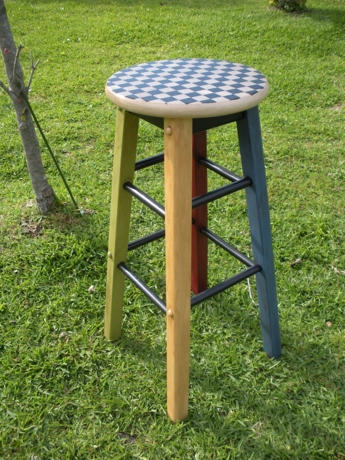 Painted Wooden Stool ~ Handpainted wood checkered stool counter