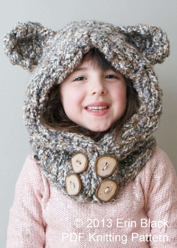 Childrens Hood Knitting Pattern : DIY Knitting PATTERN Chunky Bear Hood in Toddler Child and