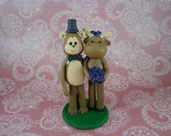 Custom Made Moose & Monkey Wedding Cake Topper