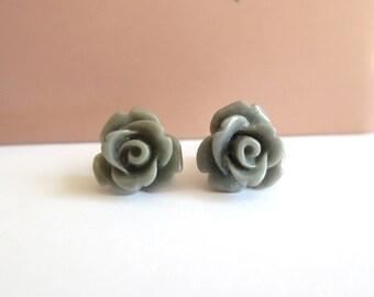 Grey Rose Earrings