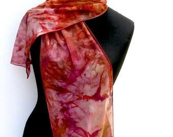 Copper SILK SCARF, Hand Painted