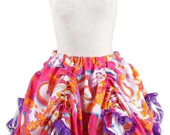 Drawstring Bustle Steampunk Circus Skirt - Orange Pink Purple