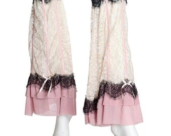 Ivory Rose and Black Lace Leg Flares / Boot Toppers