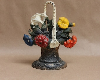 Vintage Hand Painted Hubley Cast Iron Flower Basket Door Stop- Rustic Home Decor