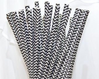 NEW Black CHEVRON Stripe 25 Paper Straws- with diy Printable Flags,, Wedding , Baby Showers, Tea Party , Princess