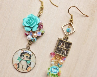 Kitty in the Window Mismatched Earrings - Whimsical Romantic Jewelry - kitten resin pendant, Japanese tensha bead, turquoise rose cabochon