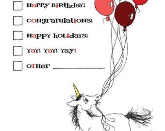 Check Box Unicorn Greeting Card