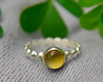 Citrine and Silver Stacking Ring, November Birthstone, Sterling Silver Ring with Citrine Gemstone, Bridesmaids Gifts