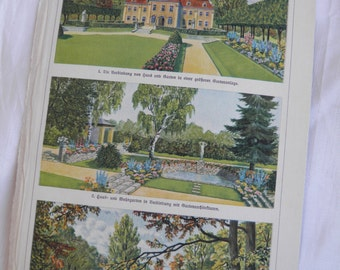 Mansion Estate - German Text Lithograph