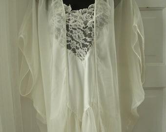 Victoria's Secret Vintage Satin and Chiffon Bridal Honeymoon Peignoir/Chemise Set