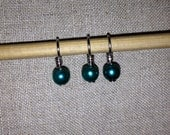Deep teal faux pearl stitch markers for knitting
