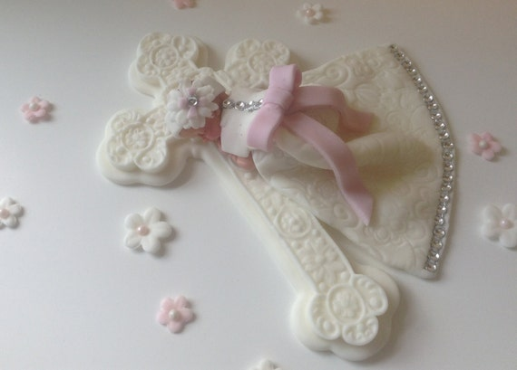 Cake Toppers For Baby Girl Christening : CHRISTENING CAKE TOPPER Baby Girl Diamond Dress Baptism cake