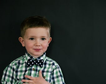 Bow Tie - Newborn, Infant, Toddler, Boy - Navy Polka Dot