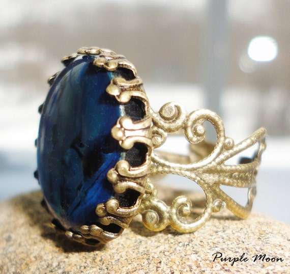 BRIGHID - Royal Blue And Bronze Filigree Ring - Wiccan, Pagan, Victorian, Renaissance