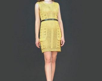 Yellow exclusive crochet summer dress