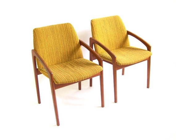Items similar to vintage teak chairs wood lounge dining for Modern yellow dining chairs