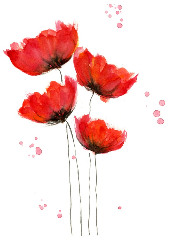 Poppy Watercolor paintings |Watercolor Poppies Pink