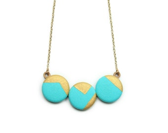 Mint & Metallic Gold Hand Painted Geometric Necklace