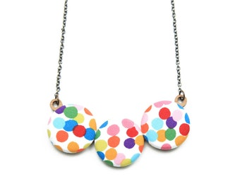 Confetti Polka Dot Rainbow Necklace