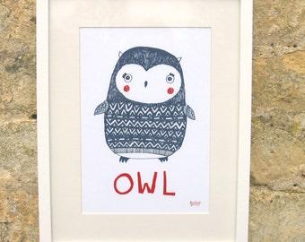 Owl print, nursery illustration, hand drawn animal wall art, on white paper