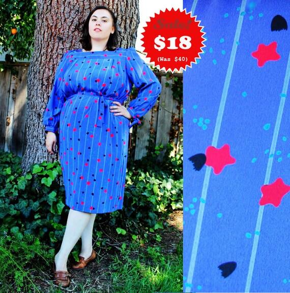 CLEARANCE - Plus Size - Vintage Stars & Jelly Fish Print Sheath Dress (Size 18)