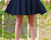 High waisted navy blue corduroy circle skirt
