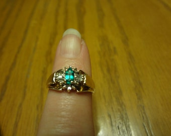 10k Emerald & Diamond Ring Birthday Gift Birthstone Green CZ Diamonds Yellow Gold Gift St Patricks Day Green So you dont get Pinched