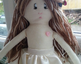 Flower Girl Doll. Bridesmaid Doll. Traditional Rag Doll. Soft Doll. Girls Doll. Christening Doll.
