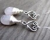 Sterling Silver Wire Wrapped light pink Rose Quartz heart  love dangle handmade earrings