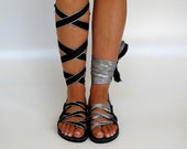 "Black Leather Sandals, handmade, Unique design, with reversible scarf straps in silver and black  ""APHRODITE"" AS32 All sizes Available"