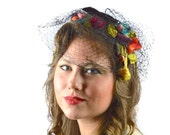 Vintage 1950s Hat: 50s Fascinator Headband, Black Bandeau Hat with Veil, Bridal Headpiece