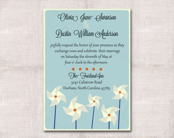 Pinwheel Wedding Custom Printable Invitation 5x7