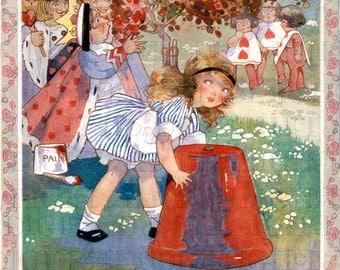The Queen of Hearts Nears ALICE. Alice in Wonderland Digital Download. Vintage ILLUSTRATION. Alice in Wonderland Digital PRINT.