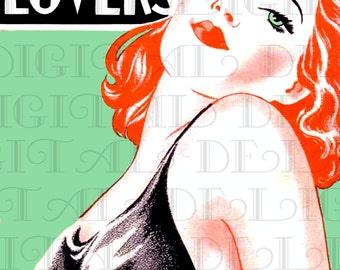 Reckless LOVERS. Vintage Art Deco Book Cover LLUSTRATION.  Art Deco Download. Deco Digital Print.