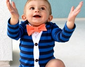 SALE Cardigan and Bow Tie Onesie Set - Trendy Baby Boy - Blue Stripes with Orange Gingham