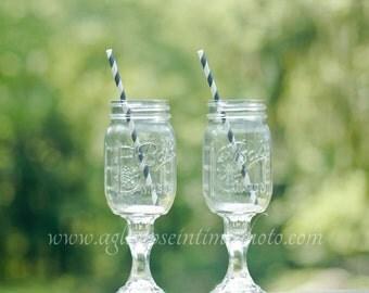 Set of 2 Redneck Wine Glasses 16oz Ball Mason Jar Wine Glasses