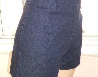 Baylis & Knight Dark Blue Denim High Waisted SHORTS Hot Pants Dita Burlesque Pin Up 50's Rockabilly Retro Cute
