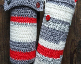 Round hot water bottle covers striped crocheted for baby red white grey