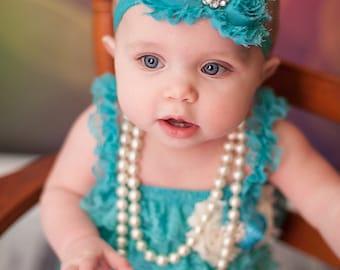 Turquoise Teal Shabby Headband Shabby chic Headband Baby headband  newborn headband flower headband baby girl headband