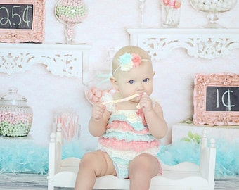 Coral Mint and Ivory Petti Romper ONLY , Lace Romper, Ruffled romper, Baby girl & newborn, Pettiromper