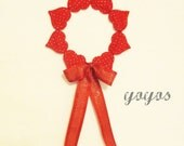 RED Felted PENNIES WREATH - Valentine's / Spring / Wedding Seasonal Home Décor