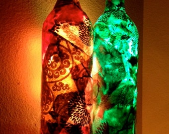 NEW Wine Bottle Light, Wine Bottle Lamp, Decoupage Wine Bottle with Lights, Decoupage on Lamp, Lokta Paper