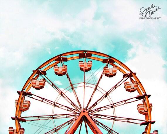 Ferris Wheel Print Carnival Print Ferris Wheel By Janelletweed