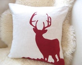 Deer Pillow Cover, Stag Silhouette Appliqué, Oatmeal & Cozy Red Corduroy, More Colors, Rustic Modern, Winter Woodland, Luxe Lodge 18x18