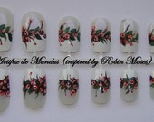 Handpainted Fake / False Romantic/Wedding Floral Nails Inspired by Robin Moses (gentle cherry blossoms on a french)