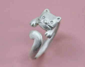 SALE-Cat Ring in Sterling Silver, Kitty Ring in sterling silver, Adjustable cat ring, Gift for Her