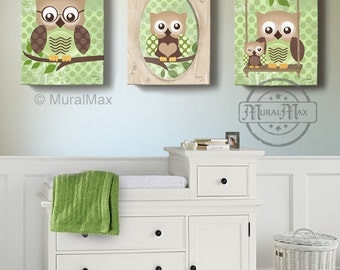 Owl Kids Art Owl Decor Art For Children Owls Nursery Art Set Of